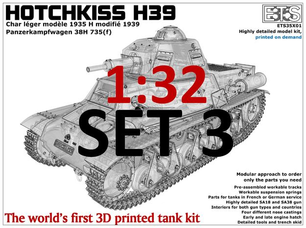 ETS32X01 Hotchkiss H39 - Set 3 - Tracks in Smoothest Fine Detail Plastic