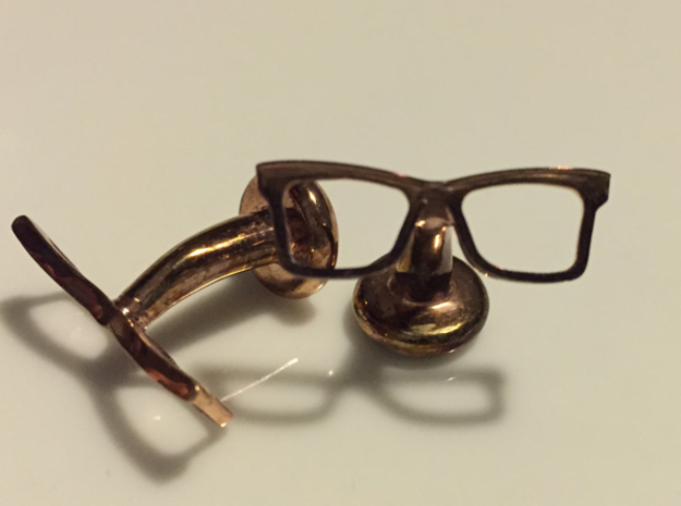 Hipster Glasses Cufflinks Origin in 14k Rose Gold Plated Brass