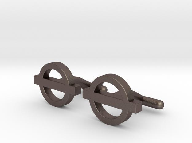 London Cufflinks in Polished Bronzed Silver Steel