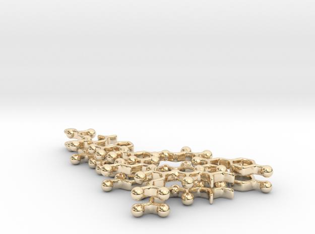 Oxytocin Earrings - Planar Version in 14K Yellow Gold