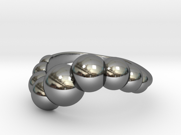 9 Sphere Ring Size 7 in Fine Detail Polished Silver