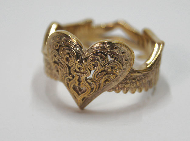 Winged Heart Ring SIZE 10 in Polished Bronze
