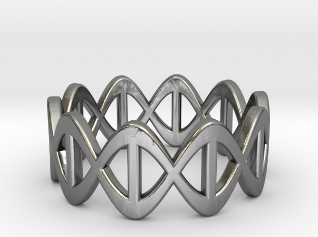 DNA Ring - Size 7 in Polished Silver