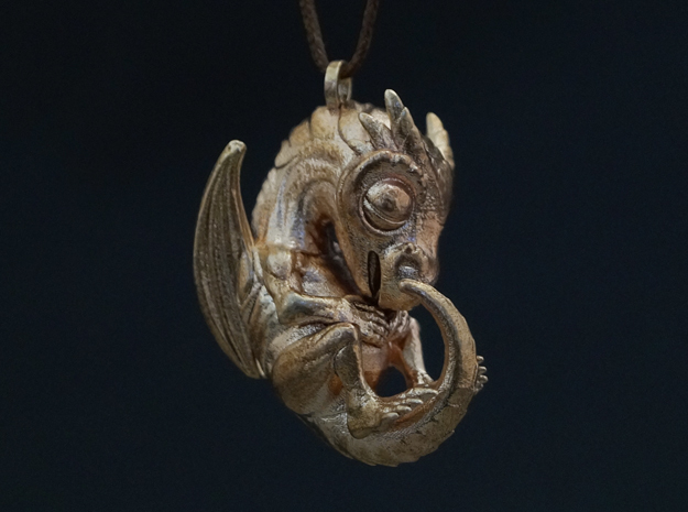 Metal Baby Dragon Pendant in Natural Bronze