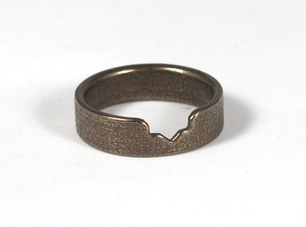 Star Ring (Size 8) 3d printed Antique Bronze Glossy