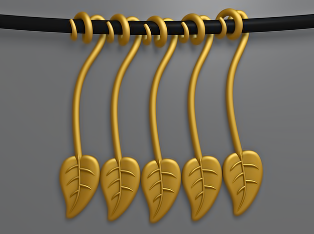 The Leaf 3d printed 5 Leaves (Gold)