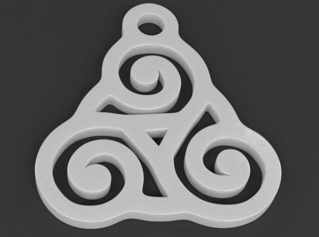 Triskelion Pendant 03 in White Strong & Flexible Polished