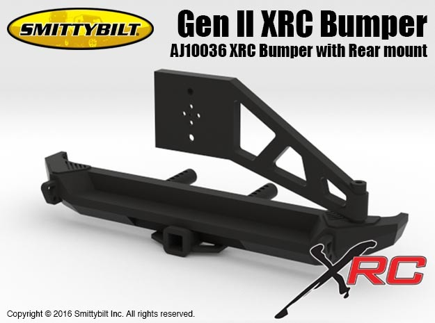 AJ10036 Gen II Rear XRC Bumper with Rear mount in Black Natural Versatile Plastic
