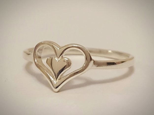 Heart Ring 7.5 in Polished Silver