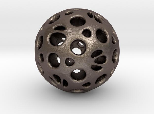 hydrangea ball 05 in Polished Bronzed Silver Steel
