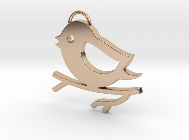 Bird on a Branch Pendant in 14k Rose Gold Plated Brass