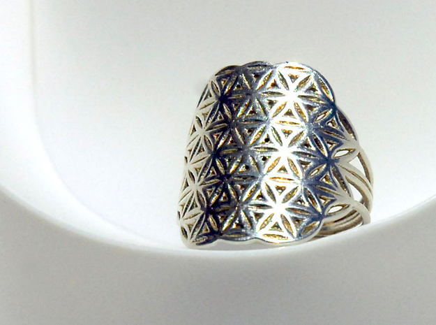 FLOWER OF LIFE Ring Nº32 in Polished Silver