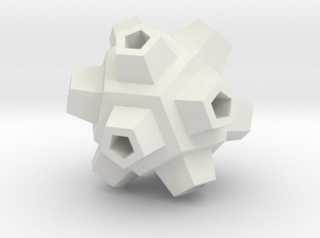 Mineral Polyhedron Pendant in White Natural Versatile Plastic