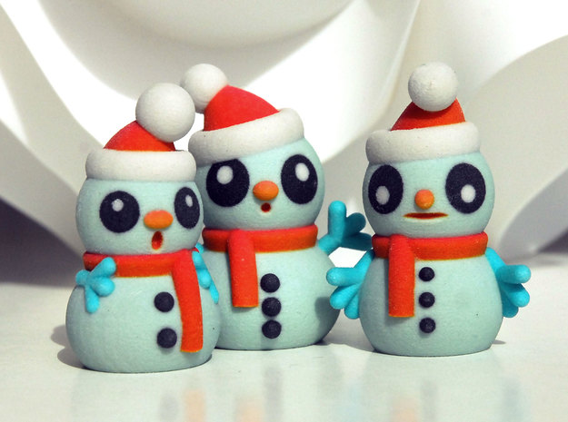 SNOWMEN in Glossy Full Color Sandstone