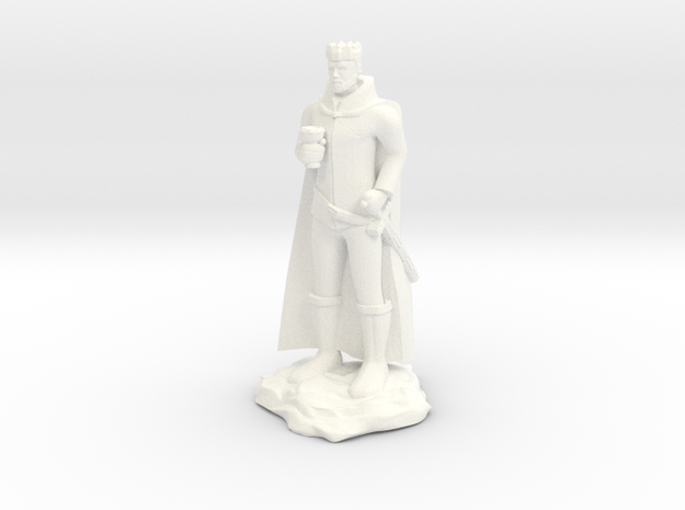 King with Goblet and Sword in White Processed Versatile Plastic