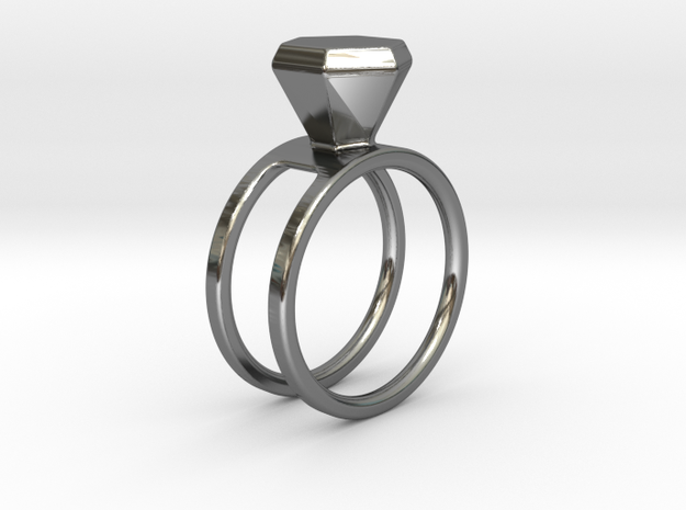 Diamond ring - Size 11 / 20.6 mm in Fine Detail Polished Silver