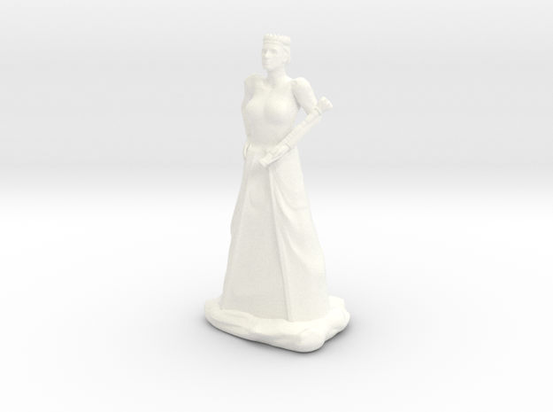 Queen with Sceptre in White Processed Versatile Plastic