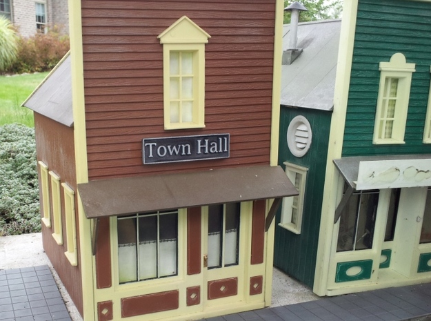 1:24 Town Hall Sign 3d printed Town Hall Sign in Downtown Frankfort - The General Store Next Door Gets a New Sign Soon
