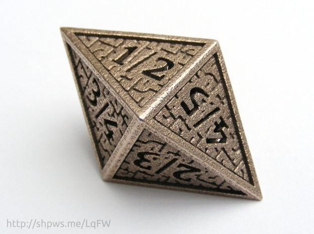 Hedron D8 Tarmogoyf (Hollow), balanced die in Polished Bronzed Silver Steel