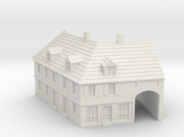 1:285-Corner House 2 in White Natural Versatile Plastic