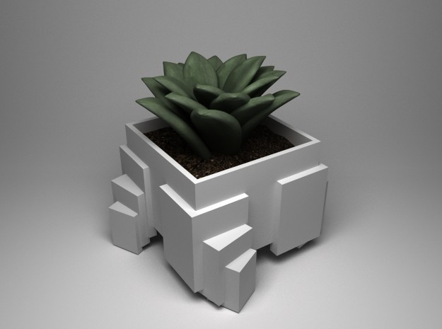 Cubic Array planter in White Natural Versatile Plastic