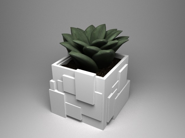 Basic Cubic planter in White Natural Versatile Plastic