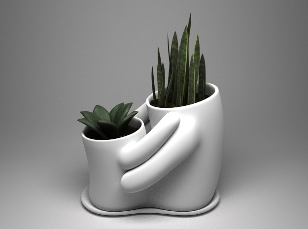 Embrace dual planter (small) in White Natural Versatile Plastic