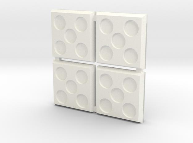 Square Bases in White Processed Versatile Plastic