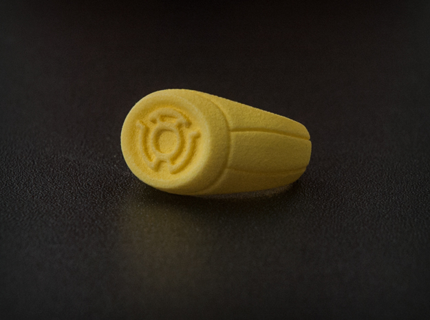 Yellow Lantern Ring 3d printed Photo of the ring in Yellow Strong & Flexible.