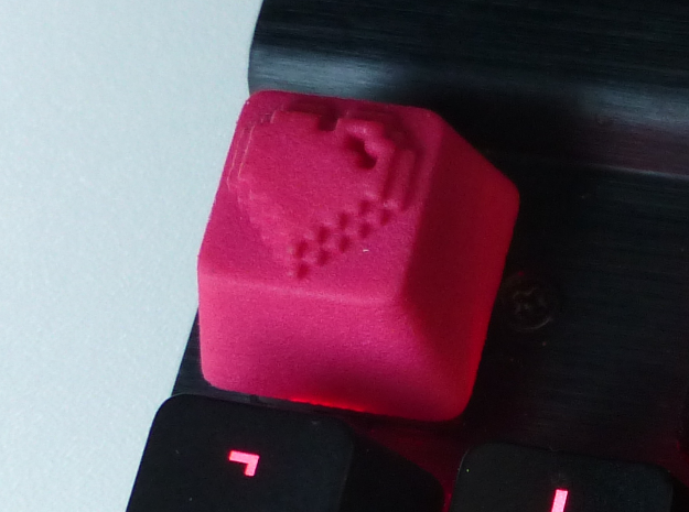 8 Bit Heart Cherry MX Keycap in Pink Processed Versatile Plastic