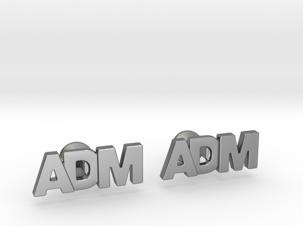 Monogram Cufflinks ADM in Polished Silver