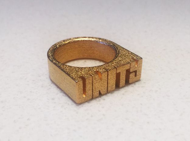 17.9mm Replica Rick James 'Unity' Ring in Polished Gold Steel