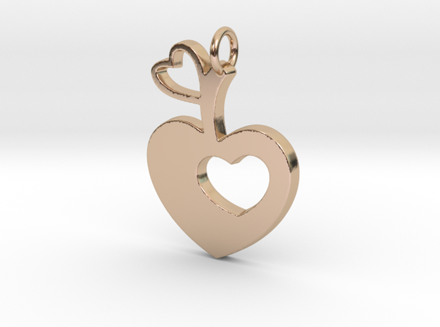 Apple of my Heart Pendant - Amour Collection in 14k Rose Gold Plated Brass