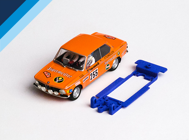 1/32 Chassis for Spirit BMW 2002 for Slot.it pod in Blue Processed Versatile Plastic
