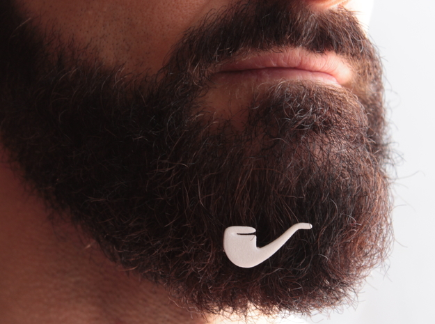 Pipe for beard - front wearing in White Natural Versatile Plastic