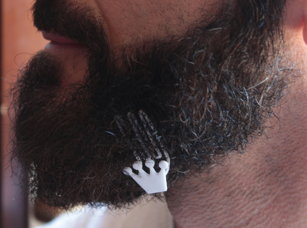 Crown for beard - lateral wearing in White Natural Versatile Plastic