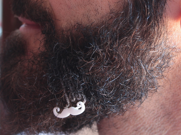 Mustache for beard - lateral wearing in White Natural Versatile Plastic
