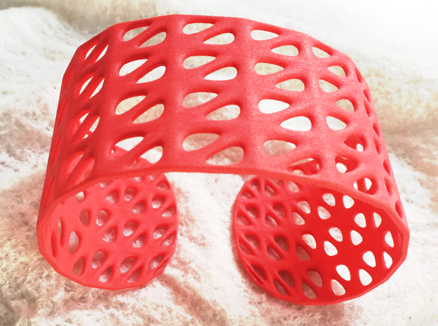 Bracelet, Generative Pattern, size M in Red Processed Versatile Plastic