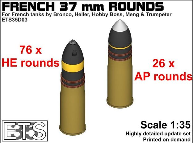 ETS35D03 - 102x 37 mm SA18 Rounds [1/35] in Smoothest Fine Detail Plastic