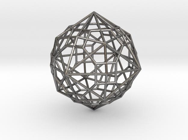 0495 Truncated Cuboctahedron + Dual in Polished Nickel Steel