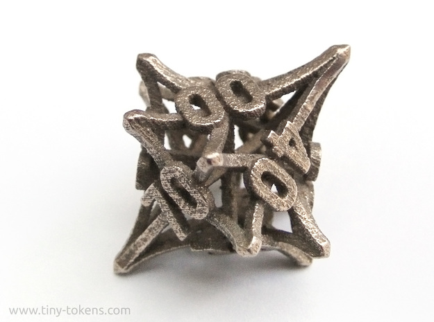 'Radial' 10D10 balanced gaming die (percentile d10 in Polished Bronzed Silver Steel