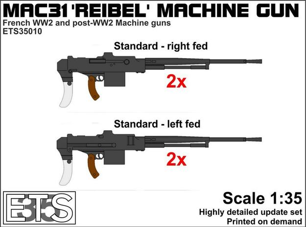 ETS35010 Reibel Machine Gun - 4x - 1:35 scale in Frosted Extreme Detail
