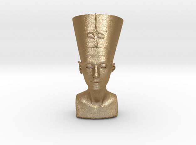 Original Egyptian Queen Nefertiti bust 3D scanned. in Matte Gold Steel