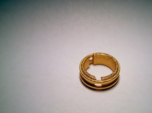 Broken-ring in Polished Gold Steel