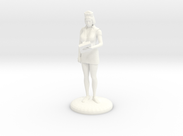 Head Nurse with Clipboard - 27mm  in White Processed Versatile Plastic