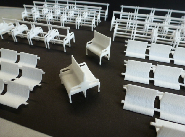 Set of 7mm LSWR gate stock coaches in White Natural Versatile Plastic
