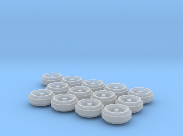 1/64 Pickup Truck Rims 80s Style 3 Sets in Frosted Ultra Detail