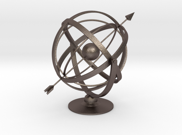 Armillary in Polished Bronzed Silver Steel