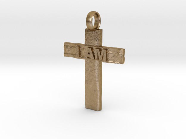 Cross I AM in Polished Gold Steel
