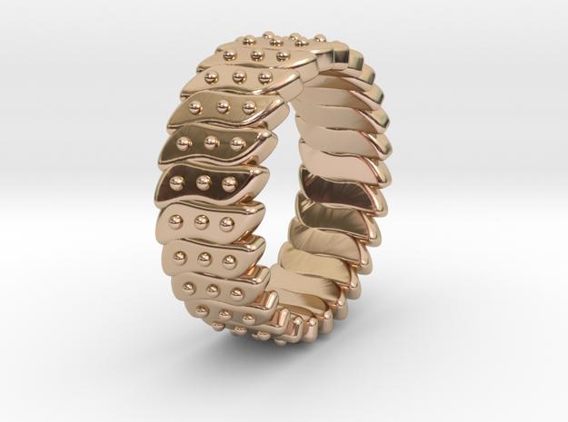 Ø0.646 Fractal Ring Model C Ø16.41 Mm in 14k Rose Gold Plated Brass
